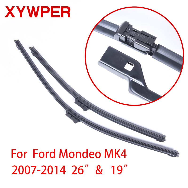 XYWPER Wiper Blades for Ford Mondeo Mk4 2007 2008 2009 2010 2011-2014 26&19 Car Accessories Soft Rubber Car Windshield Wipers wiper blades for ford s max 30