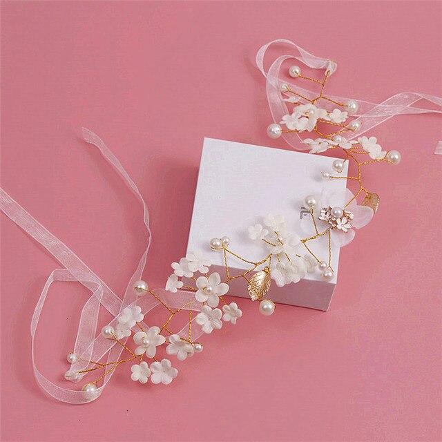 bride leaves golden hair hair with white silk hair hoop crystal imitation pearl accessories 5736B
