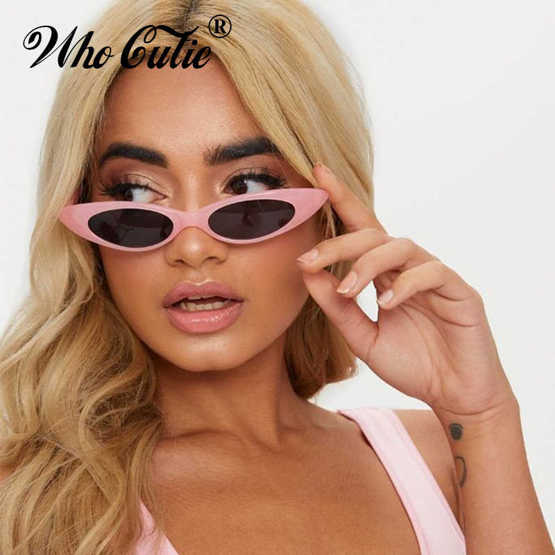 39481bf6a0 WHO CUTIE 2018 Skinny Narrow Cat Eye Sunglasses Women Vintage Small RED  Pink Drop Frame Retro