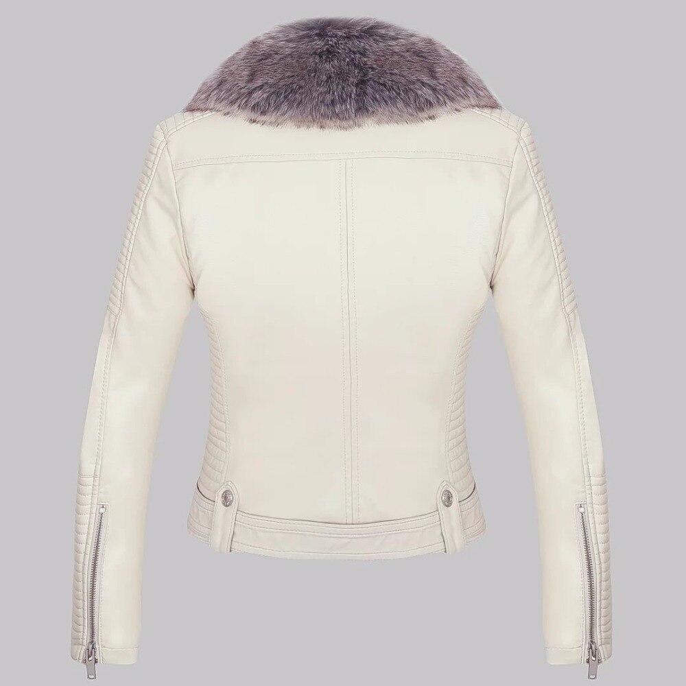 Бесплатная доставка Для женщин вскользь Европейский Американский стиль короткая заметка Для женщин S Белый отложной воротник мехом кожана...