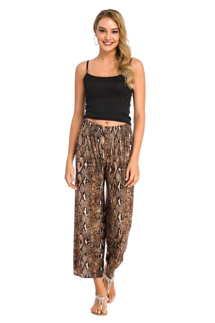 Women Leisure High Elastic Waist   Pants   Snake Skin Female Casual   Wide     Leg     Pants   Summer High Waist Loose Print   Pants