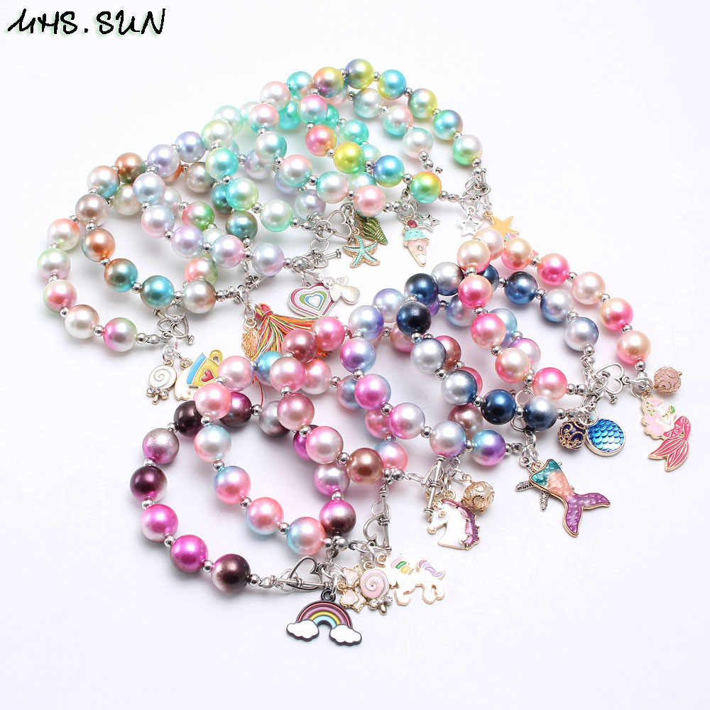 MHS.SUN Fashion Mixed Child Kids Beads Bracelets Bangles With Charming Pendants Beaded Bracelet Bangles For Baby Girls Jewelry