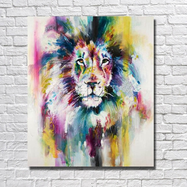 Abstract Lion Oil Painting Decor Home Room Corner Decor Pictures With  Framed Painting To Hang Wall