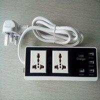 New Power Strip 4 USB Charging Ports Power Plug US EU UK Standard Plug Multi Adapter