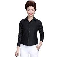 WAEOLSA Chinese Women Basic Shirt White Black Red Plain Business Casual Tops Office Lady Shirts Mature