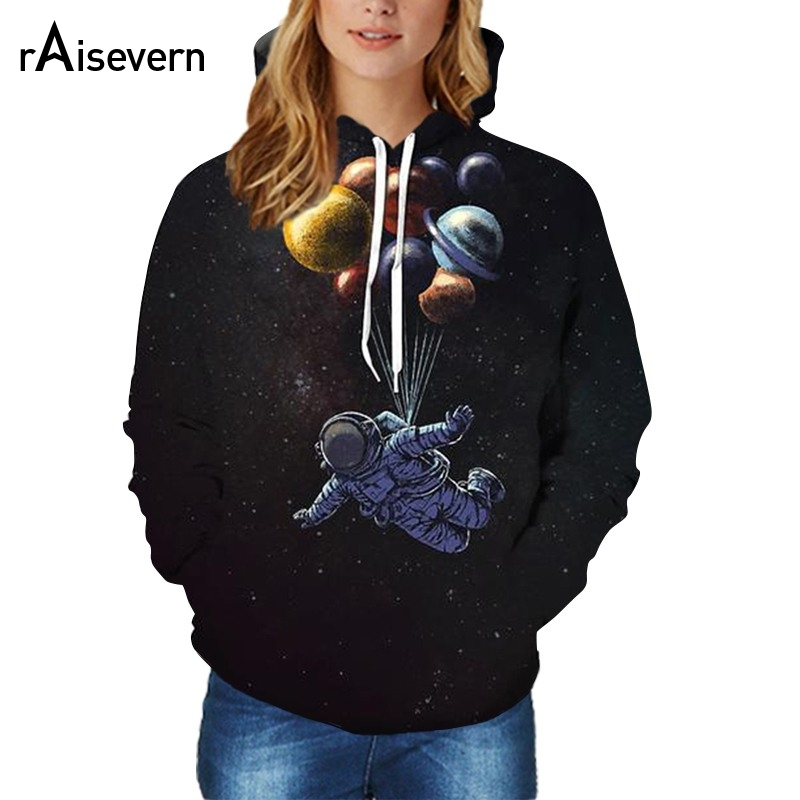 Raisevern Funny Design Hoody Astronaut Flying In The Space 3D Sweatshirt Men/Women Long Sleeve Thin Black Hoodies Dropship