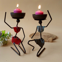New Creative Iron Candlestick African Women S Ornaments Hotel Restaurant Snacks Dip Water Tableware Rack With