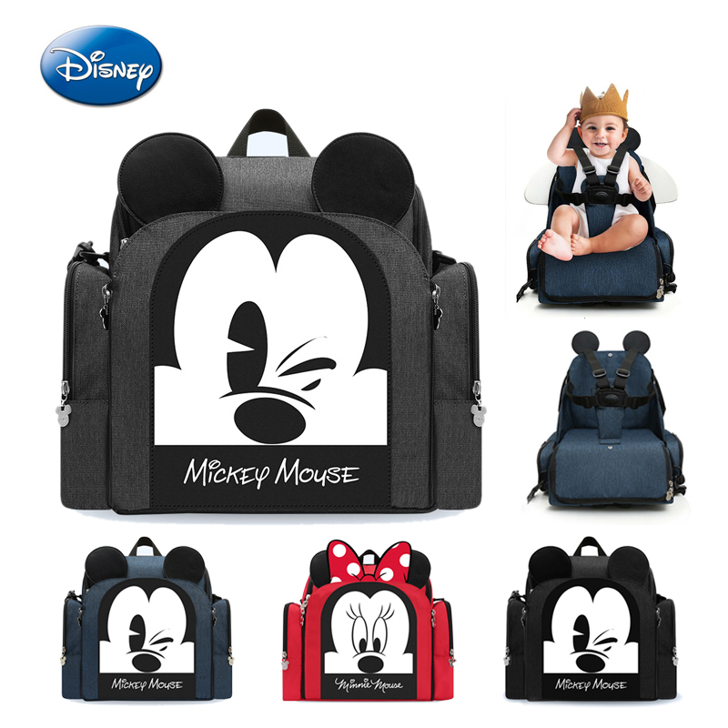 Disney New Dining Chair Bag Waterproof Mother Nappy Backpack Travel Mummy Care Bag Multifunctional Diaper Bags
