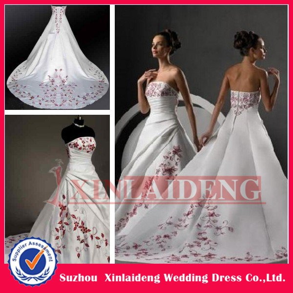 Cwd001 new style 2012 fabulous satin embroidered red and for Red and white wedding dresses 2012