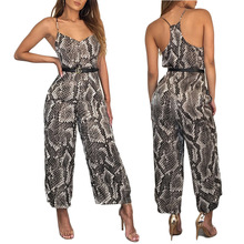 Snake Skin Print Spaghetti Strap playsuit Sexy Long Jumpsuit Overalls New Deep V Neck Backless Wide Leg Rompers Womens