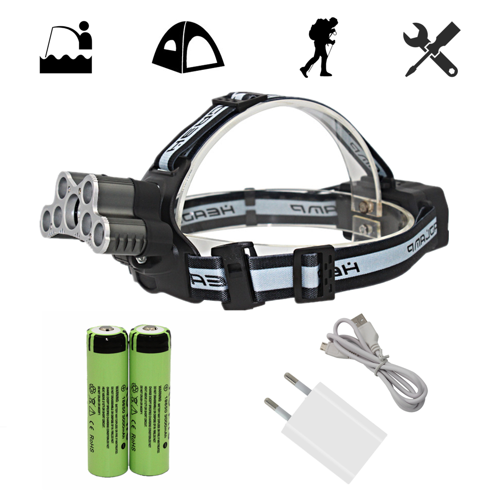 Rechargeable Headlamp 5x T6 + 2x Q5 LED Tactical Headlight Head Lamp Camping Fishing Light + 18650 Battery + USB Charger