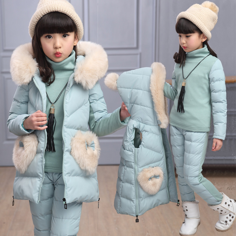 2018 Girls Winter Thicken Clothing 3 Pcs Set Children's Wear Velvet Cotton-Padded Clothes Kids Long Vest Coat + Tops + Pants A22 hot 3 pcs 2018 baby kids fall winter clothing set newborn thick cotton padded clothes boys girls hooded vest coat tops pant g107
