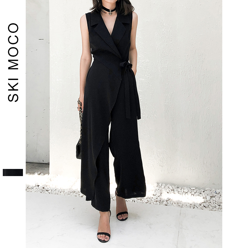 Office Ladies Elegant Jumpsuits Sleeveless Wide Leg Long Pants Workwear Jumpsuit Women Turndown Collar lace up