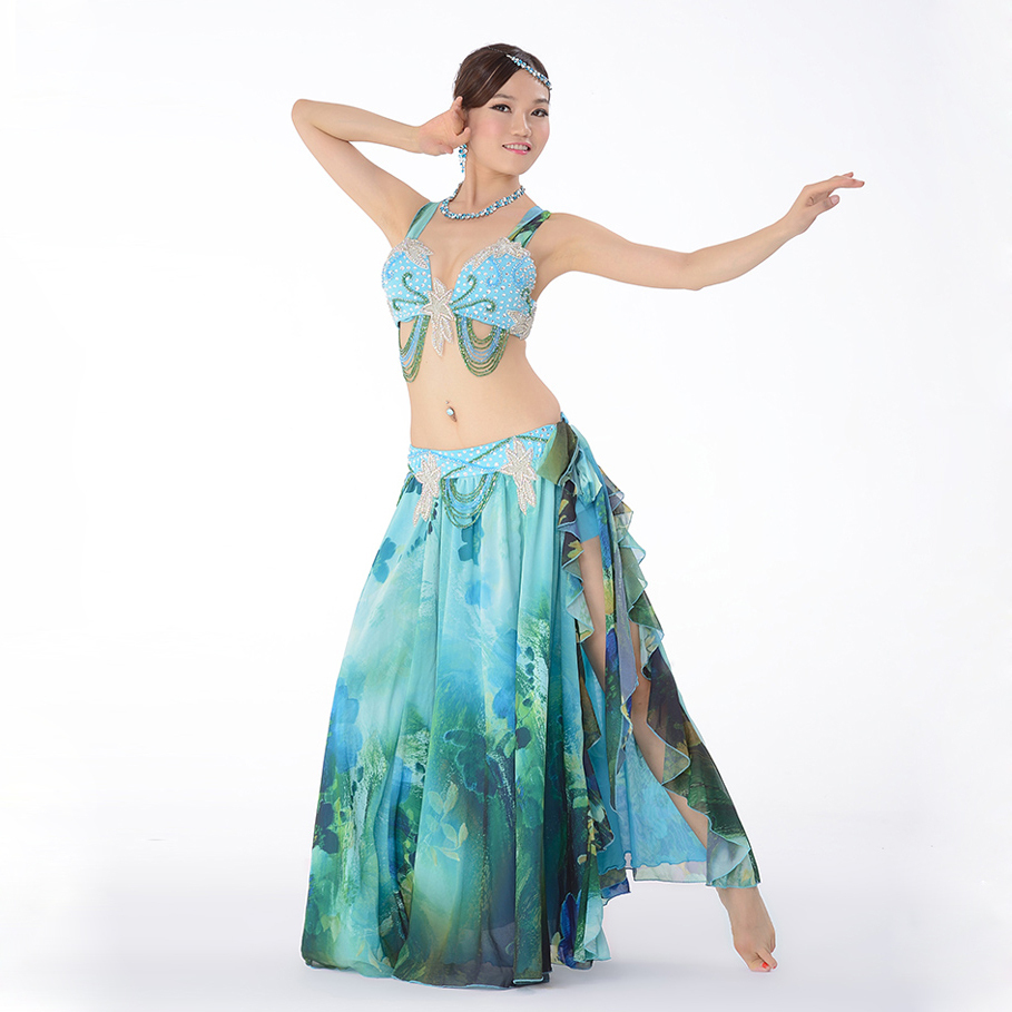 top grade performance egyptian belly dance clothes 2pcs outfit