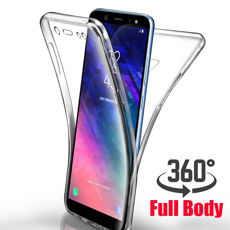 new products 76edd cf1e9 360 Degree Case For Samsung Galaxy A6 A7 A8 Plus 2018 A750 S6 S7 Edge S8 S9  J4 J6 Note 8 9 A3 A5 A7 Soft Clear Full Body Cover