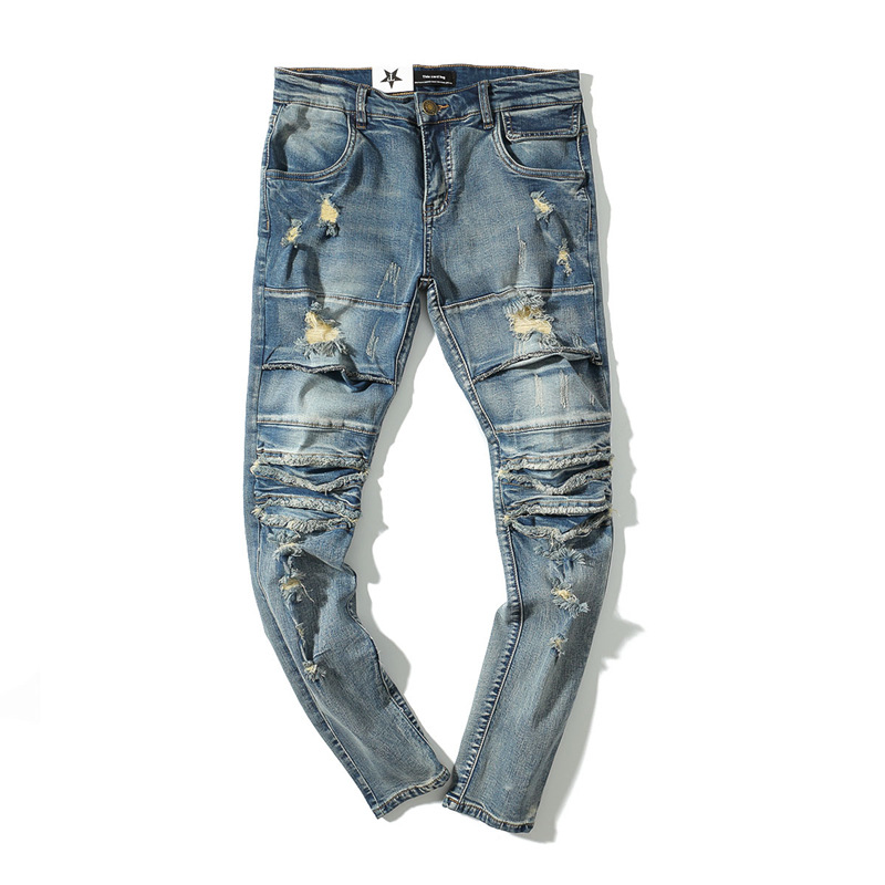 2018 Summer Knee Hole Jeans Denim Washed Men Jeans Casual Straight Slim Fit Blue Jeans Stretch Pants Trousers Classic Cowboys