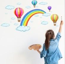 все цены на 3D Rainbow Cloud Hot Air Balloon Wall Sticker Child Wallpaper Murals Floor Wall Print Decal Wall Sticker онлайн