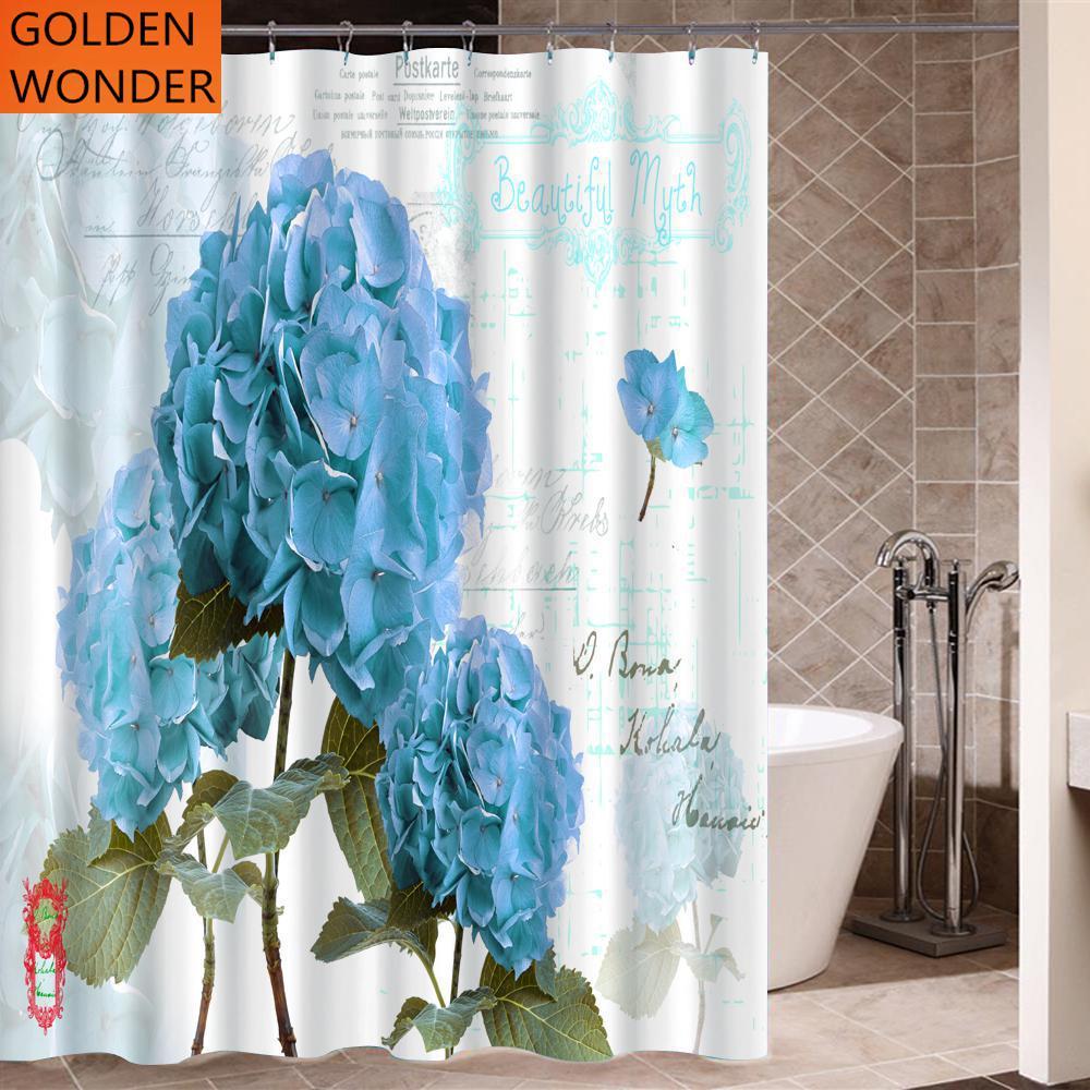 high grade blue flower polyester thickened waterproof shower curtains bathroom curtain half. Black Bedroom Furniture Sets. Home Design Ideas
