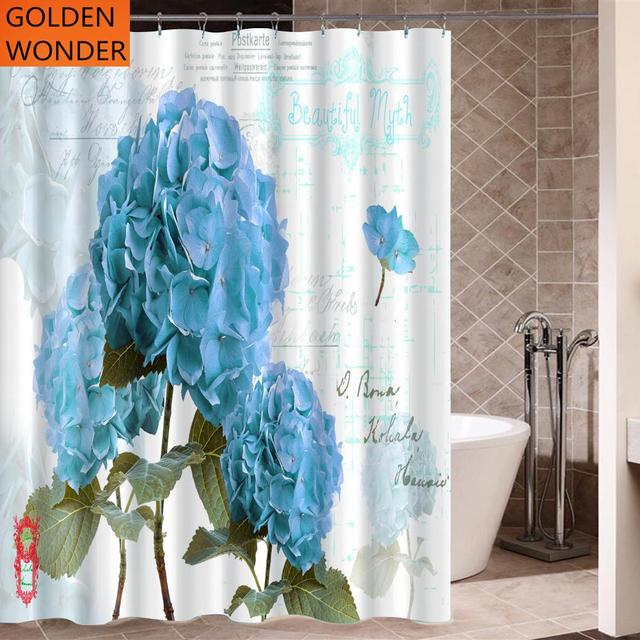 High Grade Blue Flower Polyester Thickened Waterproof Shower Curtains Bathroom Curtain Half Shade Mildew Home Decor