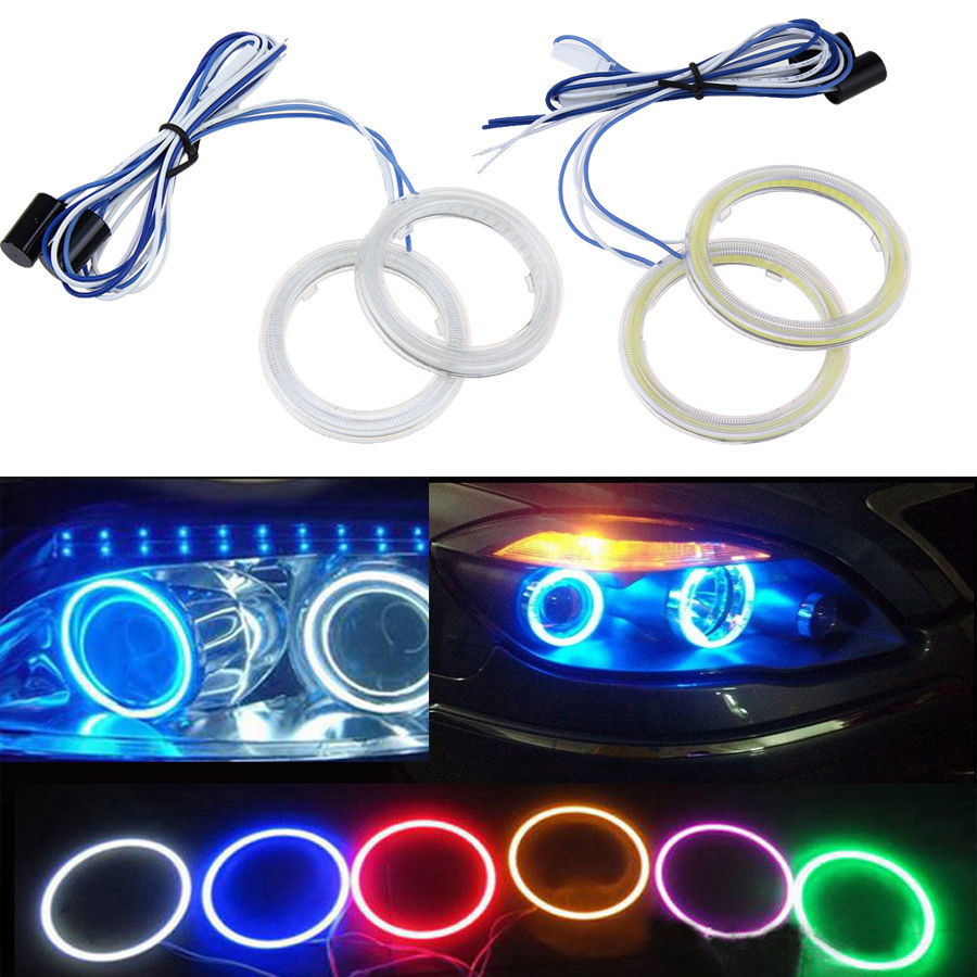 Aliexpress com buy possbay universal 7 colors 70mm cob angel eye led car light halo rings auto headlight fog car led lighting drl daylights from reliable