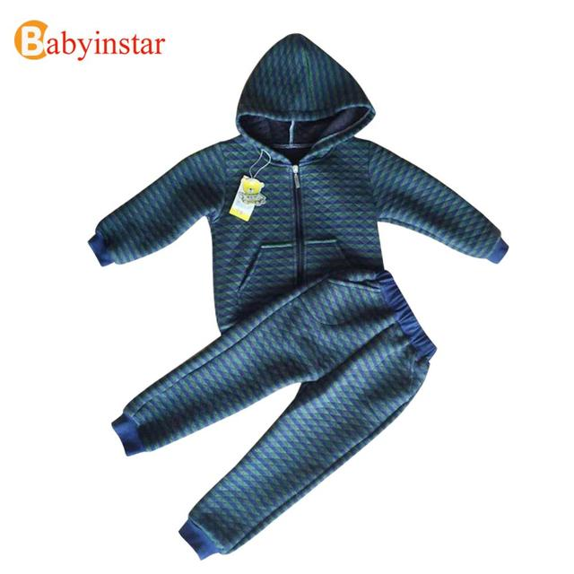 Hot Sale 2016 Boys Clothing Sets Autumn Winter Hooded Striped Coat +Warm Pants 2pcs Kids Suits Outfits Children Sets