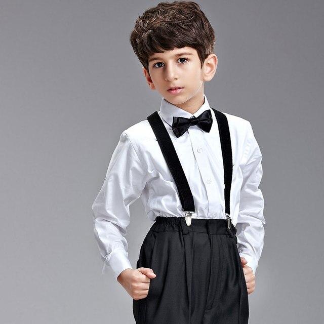 428e83f6382ed Calidad magnesio tirantes conjunto conjunto estudiantil traje muchachos  para hombre formal perfermance ropa set blanco y