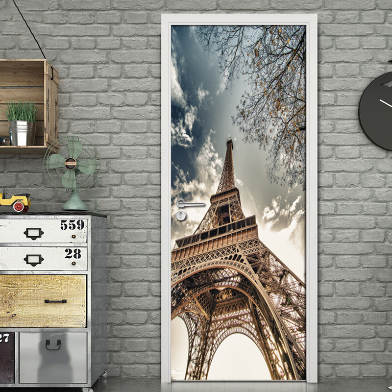 Retro Nostalgic Paris Tower Mural Wall Decorative 3D Wallpaper Living Room Bedroom Bathroom Door Sticker Self-adhesive 3D Mural 3d door sticker livingroom bedroom wall decoration paris eiffel tower pvc waterproof self adhesive door stickers wallpaper mural