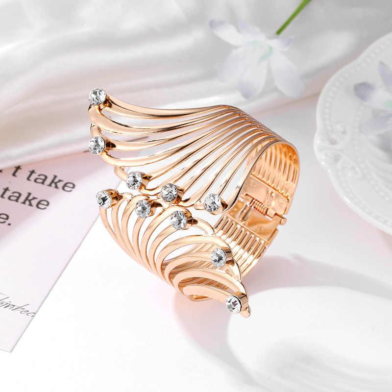 מלאך כנפי צמיד מתכוונן אישה רכיבה אופני תכשיטי מתנות פתוח צמיד קריסטל סיטונאי חללית