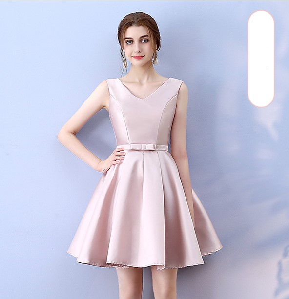 V Neck Red Bean Pink Colour Above Knee Mini Dress  Satin  Dress  Women Wedding Party Bridesmaid Dress Back Of Bandage