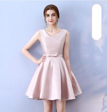 V Neck Red Bean Pink Colour Above Knee Mini Dress  Satin  Dress  Women Wedding Party Bridesmaid Dress Back of Bandage red bean pink colour sleeveless above knee mini dress bridesmaid dress wedding guest dress sexy back of bandage