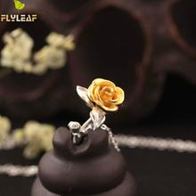 Flyleaf Original Hand Rose Flowers Necklaces & Pendants For Women High Quality Fashion Lady Gift 925 Sterling-silver-jewelry