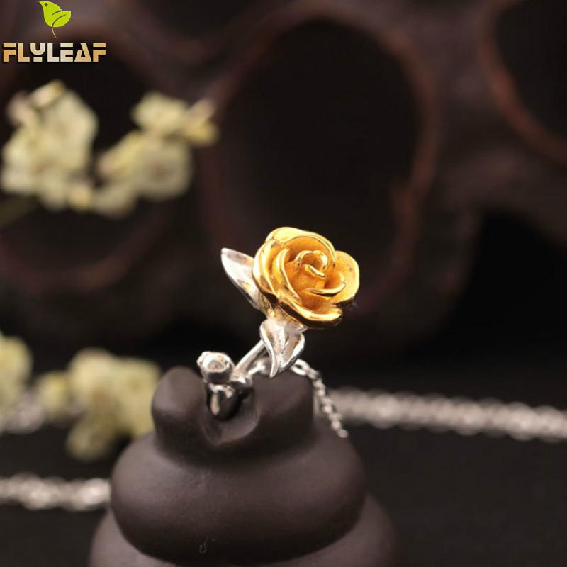Flyleaf Original Hand Rose Flowers Collares y colgantes para mujer Moda de alta calidad Lady Gift 925 Sterling-silver-jewelry