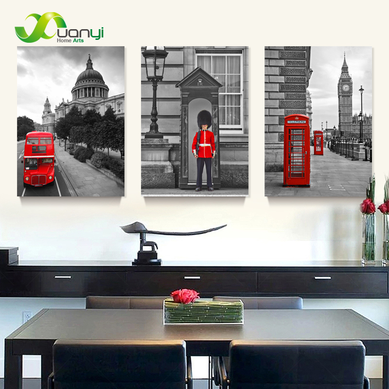 3 Panel Modern Printed London City Wall Painting Canvas Landscape Art Home Decor Wall Pictures For Living Room No Frame PR054