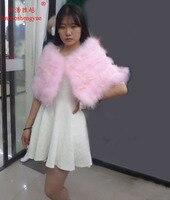 Linhaoshengyue Ostrich fur lace shawl