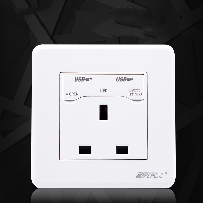 white CE ROHS British 13A AC 110~250V  Three hole  Supply Sockets 2 hole Mobile phone USB Charging USB Wall Socket Outlets