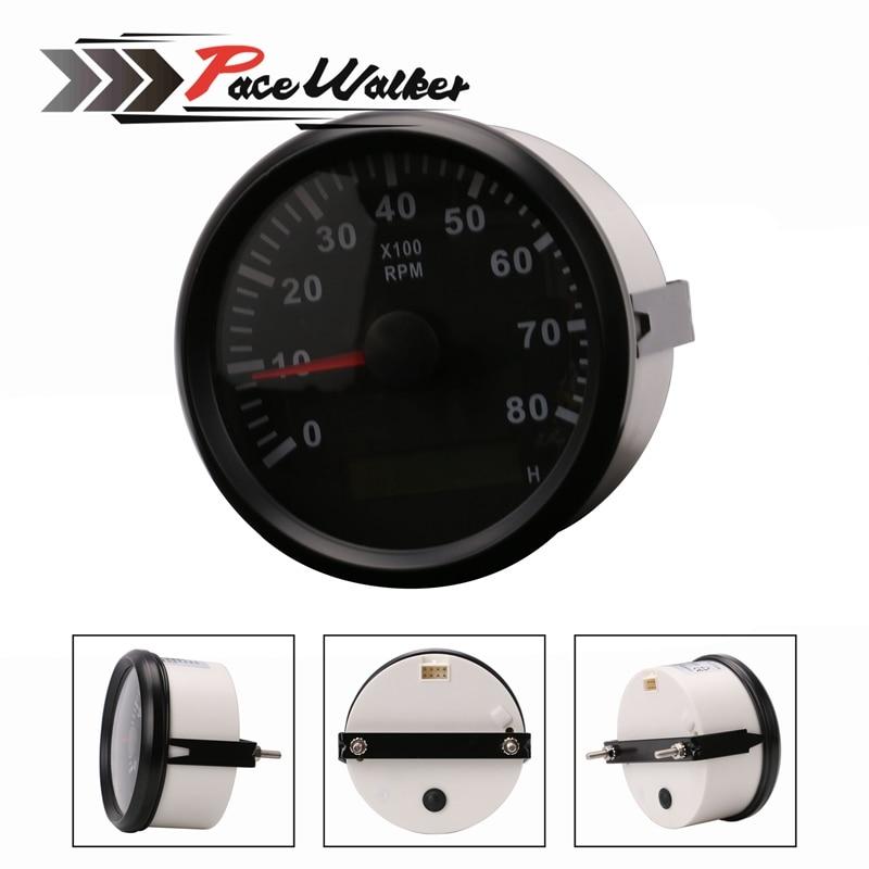 Tachometer Marine Tachometer Gauge LCD Hour Meter 12V/24V 8000 RPM 85mm dragon gauge 3 75 inch 95mm car gauge tachometer meter 12v 7 led colors adjustable 0 8000 rpm chrome shell