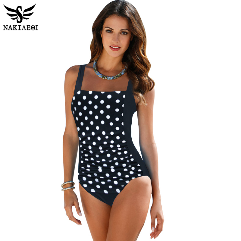 NAKIAEOI 2018 New One Piece Swimsuit Women Plus Size Swimwear Large Size Vintage Retro Padded Beach Bathing Suits Swim Wear 4XL