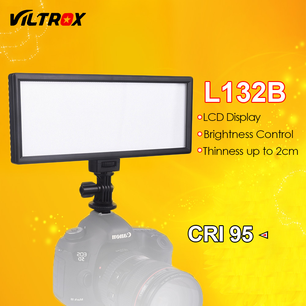 Viltrox L132B Camera LED Light Ultra Thin LCD Display Dimmable Studio LED Light Lamp Panel for DSLR Camera DV Camcorder travor 2 in 1 photography 160 led studio lighting kit dimmable ultra high power panel digital camera dslr camcorder led light