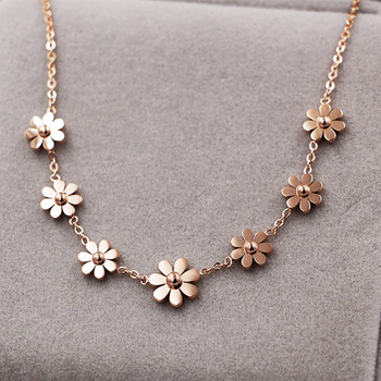 New Titanium Steel Brand Jewelry 7 Daisy Anklets For Women Rose Gold Color Fashion Prevent Allergy Summer Jewelry 4