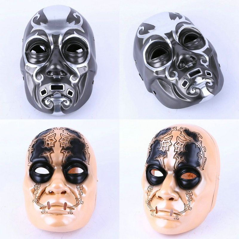 2pcs/lot Harry Potter Series Death Eater Mask Halloween Horror Malfoy Lucius Resin Masks toy Private Party Cosplay toys gift yeduo halloween mask horror hell masks latex party scary monster for festival party cosplay