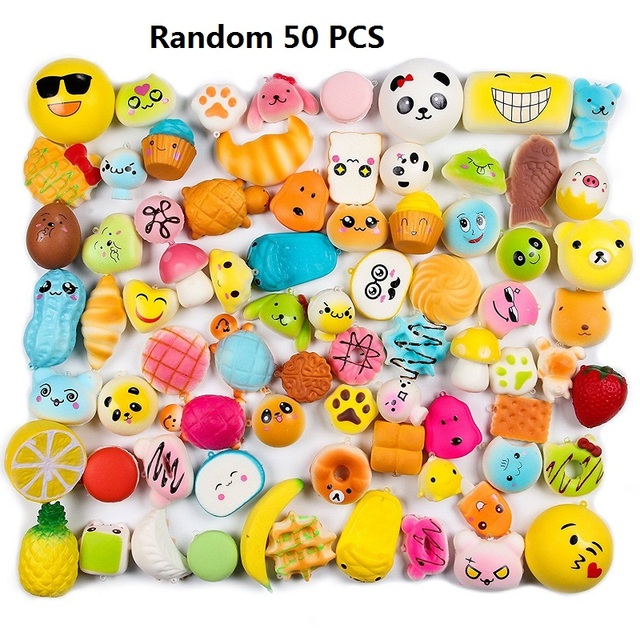 Random 50 Pcs Squishies Cream Scented Slow Rising Kawaii Simulation Lovely Toy Jumbo Medium Mini Soft Squishy Phone Straps 1