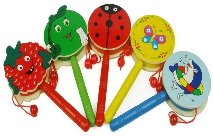 10pcs Lot Wood Rattles Baby Drum Rattle Drum Wooden Toys