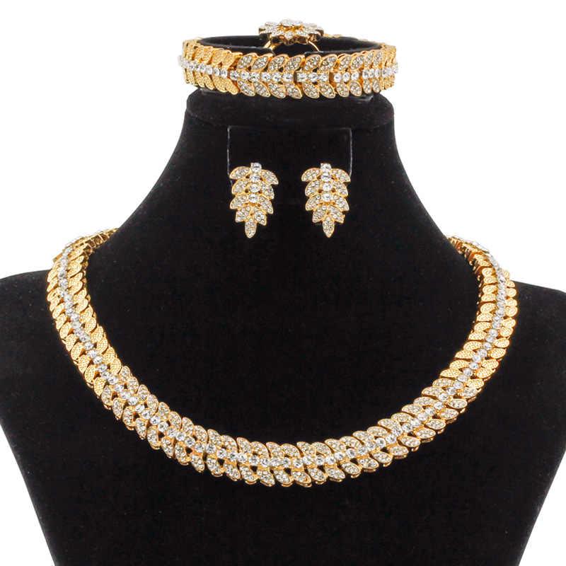 Nieuwe Mode 18 Gouden Sieraden Sets Bloem Vorm Ontwerp Crystal Ketting Armband Ring Oorbel Dubai Bruid Huwelijkscadeau Accessoires