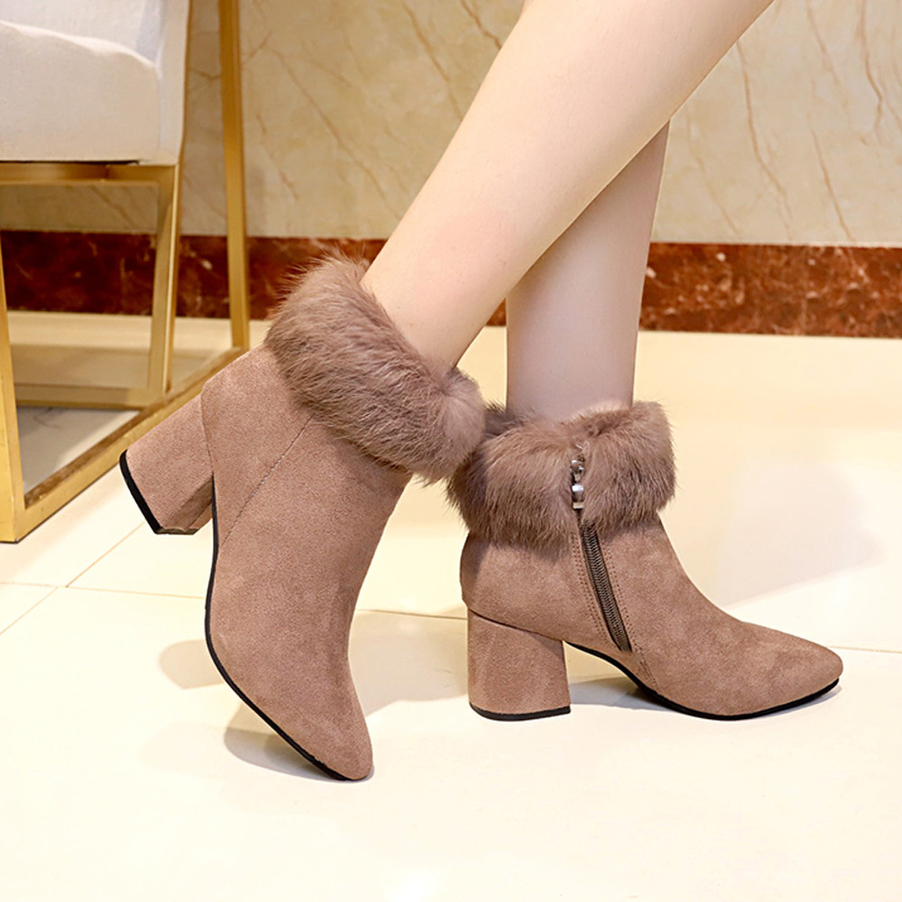 shoes Boots Women Suede Ladies Faux Warm Ankle Slip-On Boots Shoes Middle Heels Martin boots women 2018Nov1 46