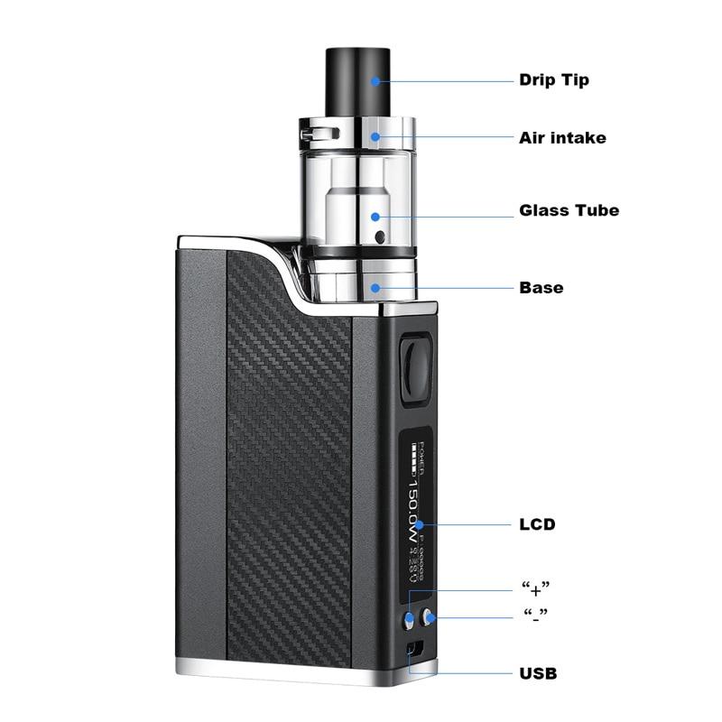 E Cigarette New Polar Night 0.3ohm 150w Liquid Electronic Cigarette Led Vaporizer 2ml 1500mah Vape Pen Box Mod Kit Hookah Vaper