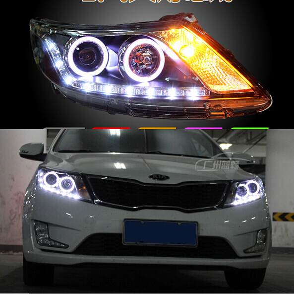 for 2012-2013 new KIA K2 kia Rio LED HID headlights,headlamps,HID Hernia lamp,LED KIT,auto car products,accessory akd car styling led drl for kia k2 2012 2014 new rio eye brow light led external lamp signal parking accessories
