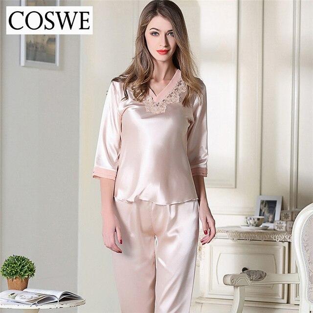 Plus Size Pajamas Pink White Silk Satin Pajamas Suit Pajama For Women Woman Home wear Women's Pajamas Set Home Clothing
