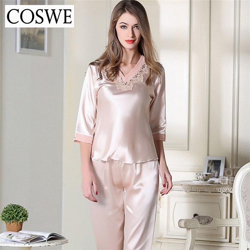 vendita scontata spedizione gratuita nuovo prodotto COSWE Plus Size Pigiama Donna Rosa Bianco Raso di Seta ...