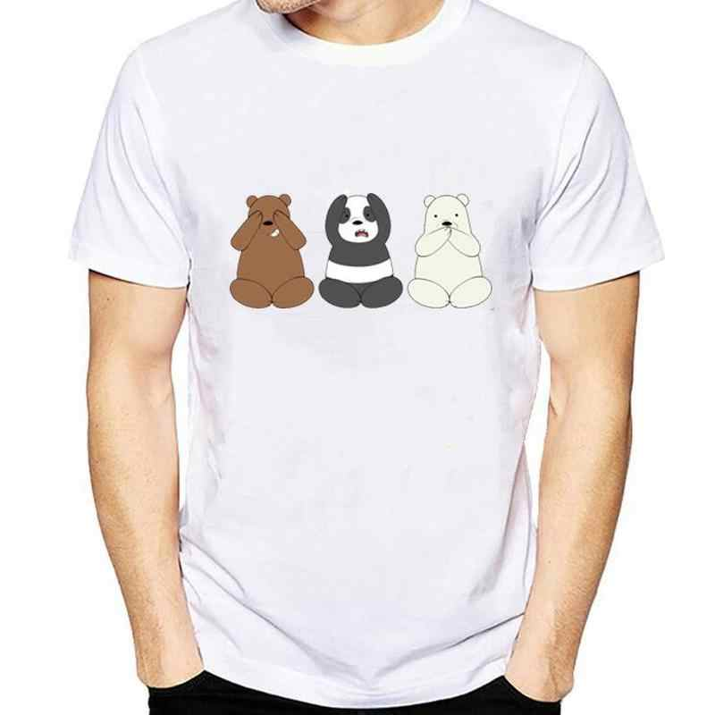2019 summer Funny men T-Shirt Bare Bears T Shirt Men Fashion Printed Ice Bear Short Sleeve Stackable Casual  tops large size