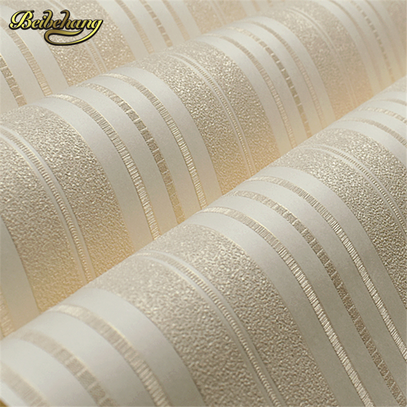 ᑎ‰Beibehang metálico moderno wallcovering brillo raya no tejido ...